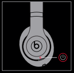 diagram of the headphones with the power button highlighted