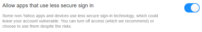 Yahoo toggle to allow apps that use less secure sign ins.