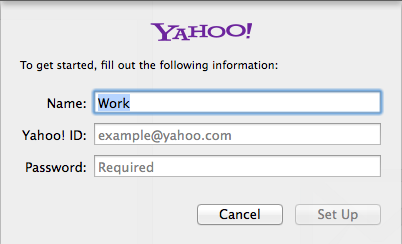 Mac Mail Yahoo account fields.
