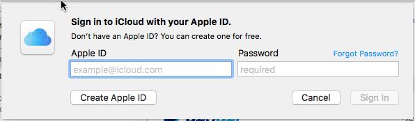 iCloud sign in.