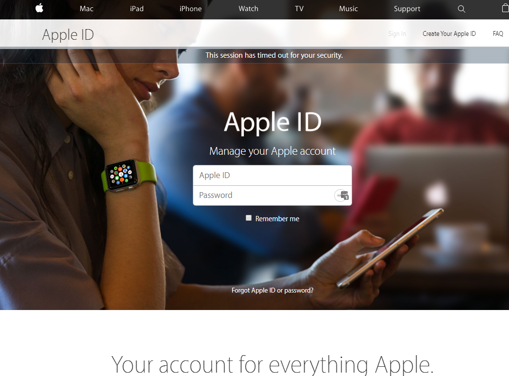 Apple ID landing page.