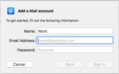 macOS add a mail account fields.