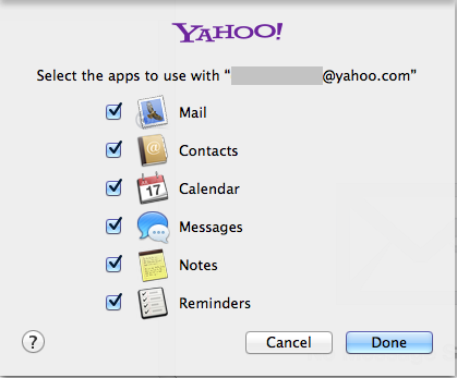 Mac Mail selections of apps to use with the yahoo email.