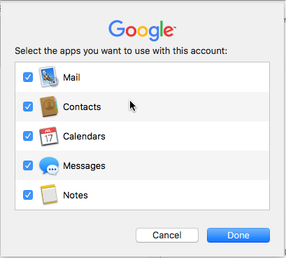 Mac Mail asking what apps you will let gmail use.