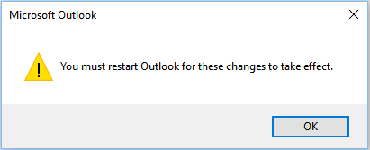 Outlook needs to restart popup.