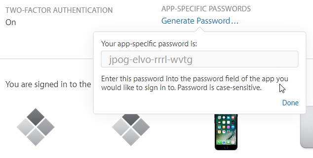 Apple ID page showing the app specific password