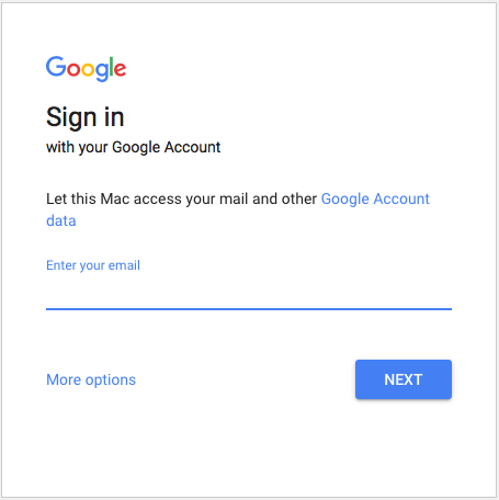 Mac Mail asking for Gmail credentials.