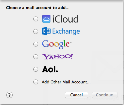 MacOS add other mail account setting.
